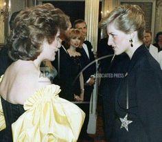 19 April 1989: Princess Diana chats with Dame Kiri Te Kanawa at a Royal Gala in aid of The Prince's Trust at the London Palladium..