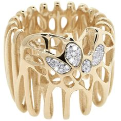 FLOWEN Sterling Silver Moxi Cocktail Ring in 18 Karat Gold and Diamonds For Sale
