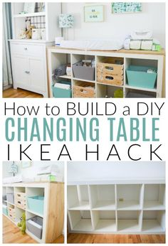 Inside: A full tutorial on how to make a DIY Changing Table and it& an Ikea hack! A simple update that has a lot of design impact and tons of nursery storage and organization. Baby Nursery Organization, Nursery Storage, Baby Storage, Ikea Organization, Storage Ideas, Changing Table Organization, Kids Storage, Baby Nursery Diy, Nursery Room