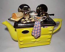 Large Yellow AGA Swineside Teapottery Yorkshire,England (Now Closed 2015)Roast Dinner Tea Pot ~ Bisto & Puddings C.1999-2015