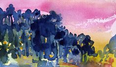 I like using watercolor to make up imaginary places . . . Reminds me of a stand of eucalyptus.