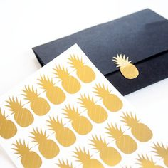 Pineapples Small Gold Foil Stickers  Planner & by SessaVee on Etsy