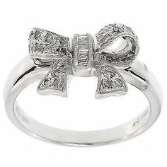 0.60 Cttw F VS Round Brilliant Cut Diamonds Bow Cocktail Ring in 14K White Gold…