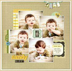 scrapbok layout - 4 clustered photos