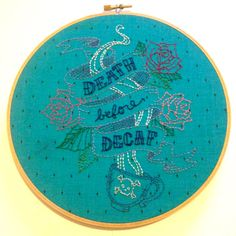 Hand embroidered hoop wall art