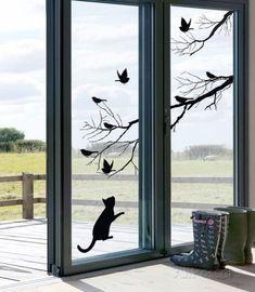 Window Decals  21 Nicely Pics Interiordesignshome.com Kitty window decal by Alice Wilson