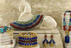 King Tut, Egyptian Jewelry, Vermeil, Turquoise, Lapis, Carnelian ... timothy john exotic jewelry inspiration semiprecious jewelry necklace earrings bracelets
