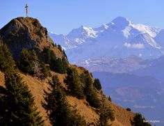 Magnificent view from peak above holiday rental, chalet le moulin, French alps.