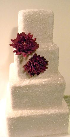Look how this 4 tier wedding cake shines and sparkles. Love the bright splash of color sugar flowers this bride selected. The Red/burgundy sugar flowers sure gives this cake personality. Sparkly Wedding Cakes, Sparkly Cake, 4 Tier Wedding Cake, Wedding Cakes With Cupcakes, Elegant Wedding Cakes, Wedding Desserts, Cupcake Cakes, Ruby Wedding, Dream Wedding