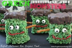 Green Marshmallow Treat Monsters – Halloween Frankenstein Rice Krispies #halloween #treat #DIY http://www.frugalcouponliving.com/2013/10/20/green-marshmallow-treat-monster-halloween-frankenstein-rice-krispies/