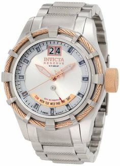 Invicta Men's 1579 Reserve Retrograde Silver Dial Stainless Steel Watch Invicta. $439.19. Swiss quartz movement. Flame-fusion crystal; brushed and polished stainless steel case and bracelet with textured center link. Water-resistant to 200 M (660 feet). Date function with retrograde day of the week. Silver dial with rose gold tone hands and silver tone hour markers; luminous; 18k rose gold ion-plated twisted wire trim on case and 18k rose gold ion-plated crown. Save 78%!