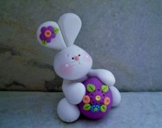 Bunny - Egg - Polymer Clay - Easter - Figurine