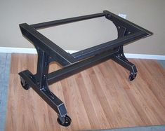 Industrial style heavy duty steel table base has massive construction suitable for the heaviest tops. With the added top rails and foot rail this one is designed for use with tops that need full support like granite and marble. Also works great with butcher block and live edge slabs.  Built with 3 square steel tube, steel plate gussets and heavy duty bolts. The foot rail and the 2 top rails bolt in place, assembly is simple and takes just a few minutes.  The base pictured here is 28 inches…