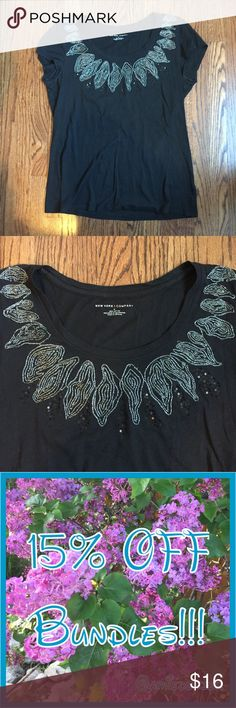 NY&C black embroidered top Great top! Fun embroidered details with some sequins as well! Size Medium New York & Company Tops