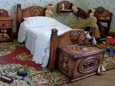 Miniature nursery furniture by Lynn Jowers of Miniatures Perfectly Small.
