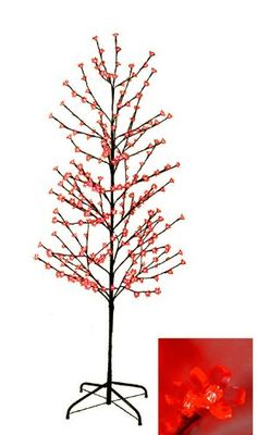 6' Enchanted Garden LED Lighted Cherry Blossom Flower Tree - Red Lights * Check this awesome product by going to the link at the image.