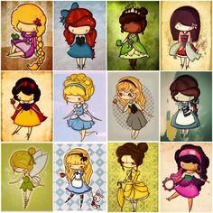 cute chibi disney princesses! <3