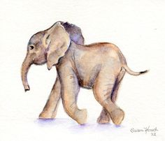 Baby Elephant Watercolor original by Marysflowergarden on Etsy