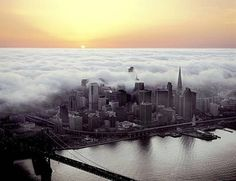The fog comes in at sunset in San Francisco, California.
