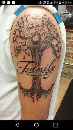 Family Tree Tattoo With Names 70 Ideas Family Tree Tattoo With Names 70 Ideas Family Tattoos For Men, Family Tattoo Designs, Tattoos With Kids Names, Tree Tattoo Designs, Tattoos For Daughters, Tattoos For Guys, Tattoo Ideas, Family Name Tattoos, Dope Tattoos