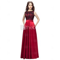 Formal Evening Dress Sheath / Column Bateau Floor-length Lace / Charmeuse with Lace / Pockets - USD $62.99