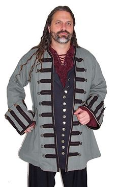 Captain Ansell Dove Gray with Black Trim Cotton Canvas Twill Military Style Pirate Coat with Military Braided Gimp Trim and Large Bell Cuffs Available in 6 Colors by Dress Like A Pirate