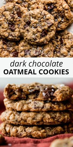 Soft and super chewy oatmeal cookies loaded with real dark chocolate chunks and topped with crunchy sea salt. Oatmeal Cookie Recipes, Oatmeal Chocolate Chip Cookies, Chocolate Cookie Recipes, Vegan Oatmeal Cookies, Healthy Oatmeal Cookies, Baking Chocolate, Dark Chocolate Chips, Brownie Recipes, Pavlova