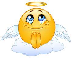 Photo about Angel emoticon sitting on a cloud. Illustration of emoticon, angel, facial - 15453195 Smiley Emoji, Ios Emoji, Emoji Copy, Animated Emoticons, Funny Emoticons, Emoji Images, Emoji Pictures, Praying Emoji, Angel Emoticon