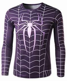 Trendy Round Neck Spider-Man Print Slimming Long Sleeve Polyester Quick-Dry T-Shirt For Men Printed Sweatshirts, Mens Sweatshirts, Super Hero Shirts, Gucci, Cheap Shirts, Dye T Shirt, Spring, Shirt Style, Long Sleeve Tees