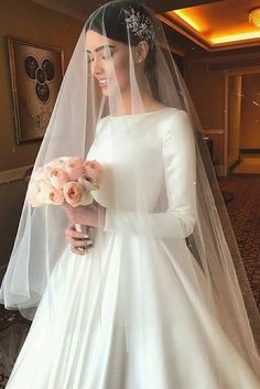 Elegant Wedding Dress,Long Sleeve Wedding Dress,Simple Satin Wedding Dresses sold by KProm. Shop more products from KProm on Storenvy, the home of independent small businesses all over the world. Wedding Dress With Veil, Long Wedding Dresses, Long Sleeve Wedding, Tulle Wedding, Bridal Dresses, Vail Wedding, Simple Wedding Veil, Sleeved Wedding Gowns, Simple Veil