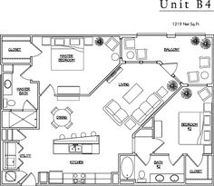 Unit B4 - 2 BR, 2 BA - 1219 Net Sq.Ft.