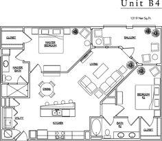 Unit B4 - 2 BR, 2 BA - 1219 Net Sq.Ft.