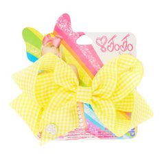 JoJo Siwa Yellow Gingham Print Back To School Hair Bow