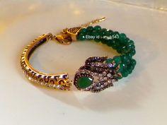 Emerald Gems Vintage Bangle Bracelet ,Antique Gold Vintage style Bracelet,Marcasite bracelet,Filigree bangle,Handmade Art deco bracelet