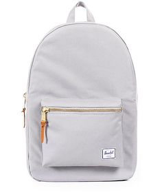 $59.95 Either head to class or a meeting in style with this Settlement light grey and lunar rock backpack by Herschel Supply Co. The perfect grey color paired with the trendy gold zippers will be a hit wherever you go. Add the function and durability or the Hers