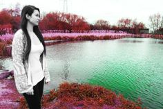 Photograph of girl by lake in Whiteheath by Leah Hill