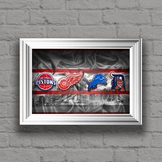 Detroit Sports Teams Poster, Detroit Sports Print, Detroit Lions, Detroit Tigers, Detroit Pistons, Detroit Red Wings Poster