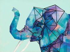 Geometric Paintings - Elephant / Acrylic on Canvas Geometric Painting, Geometric Art, Elephant Canvas Art, Geometric Elephant, Acrylic Canvas, Acrylic Paintings, Elephant Tattoos, Animal Paintings, Art Projects