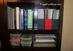 Homeschool Room ideas--I love the storage tubs for crayons, markers, etc and the paper trays, where the kids can reach them, but neatly in their place
