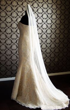 Pure Silk Tulle Sweep Train Floor Length Veil With By IheartBride, $230.00