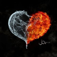 My next tattoo, memories of Vegas, myself and love. water and fire by ~kubusbbt on deviantART Heart Pictures, Heart Images, Pretty Pictures, Eis Tattoo, Top Imagem, Yin Yang Tattoos, Flame Art, Heart Wallpaper, Fire And Ice