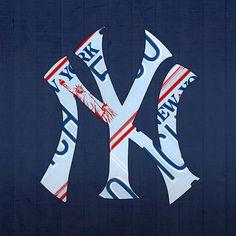 New York Yankees Baseball Team Vintage Logo Recycled NY License Plate Art.