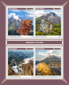 MOZ17112a Minerals and volcanoes (Mayon Volcano, Albay, Philippines, Ephesite;  Arenal Volcano, Costa Rica, Jimthompsonite; Popocatépetl Volcano, Mexico, Itelmenite; Mount Bromo and Mount Semeru, East Java, Indonesia, Limonite)