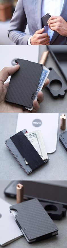 Ridge Wallet EDC Everyday Carry Minimalist CARBON FIBER WALLET + CASH STRAP in Carbon Fiber