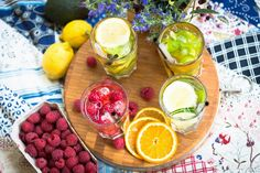 How about a homemade ice tea? Lemon, lime, orange, fresh strawberries, raspberries, cucumber, ginger, few mint leaves, and the tea of course!   Like it? Diets, recipes, activities & more @ agnieszkasportygirl.blogspot.com