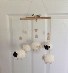 Baby Mobile, Nursery Mobile, Sheep Mobile, Lamb Mobile, Crochet Crib Mobile, Baby Shower Gift, Black and Sweet Cream Decor, Childs Decor