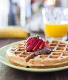 Banana Bread Waffles with Nutella  by EclecticRecipes.com #recipe