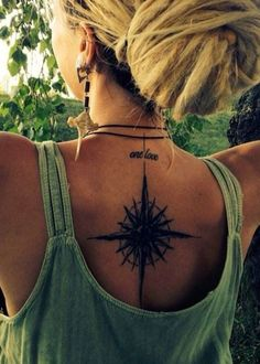 Sun Star Compass Back Spine Tattoo Ideas for Women at MyBodiArt.com #tattooideas