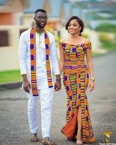 kente Dress 2018 Hello beautiful ladies, Today, we will be appreciating the latest Ghana Kente styles rocked by our fellow women over in the Gold coast. Couples African Outfits, Couple Outfits, African Attire, African Wear, African Women, Ghana Fashion, African Print Fashion, Africa Fashion, African Print Dresses