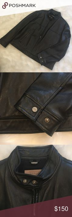 GUESS men's moto jacket GUESS genuine leather moto jacket. Size XL. Very lightly worn and in great condition! Great fall piece Guess Jackets & Coats